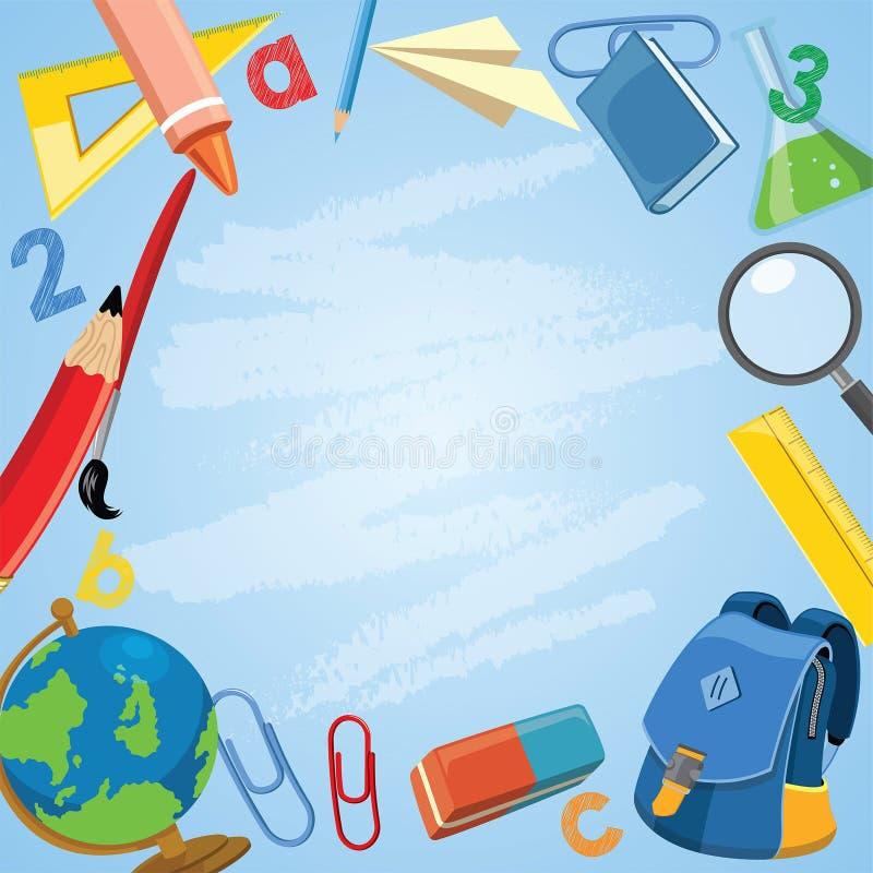 Popiera szkoły pojęcie z szkolnymi dostawami w kreskówce ilustracji