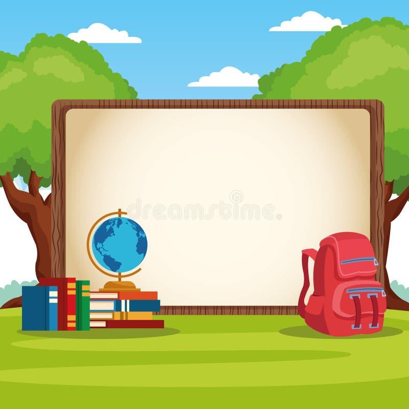 Popiera szkoły rama z kreskówkami ilustracja wektor