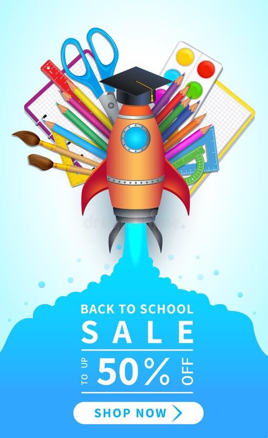 Popiera szkoły sprzedaż i robi zakupy teraz guzika, dyskontowy sieć sztandar z kolorowymi 3d realistycznymi szkolnymi dostawami,  royalty ilustracja