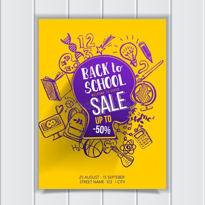 Popiera szkoły sprzedaż na dzieciaka konturowym plakacie ilustracja wektor