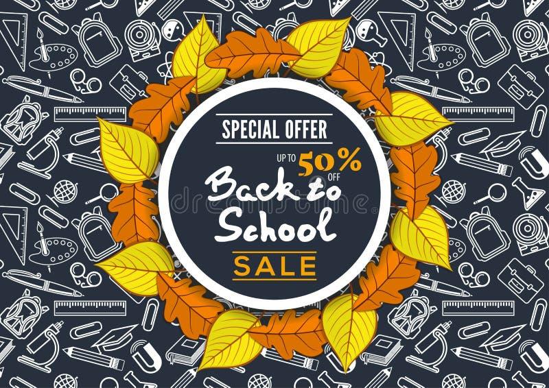 Popiera szkoły sprzedaży plakat z jesień liśćmi ilustracja wektor