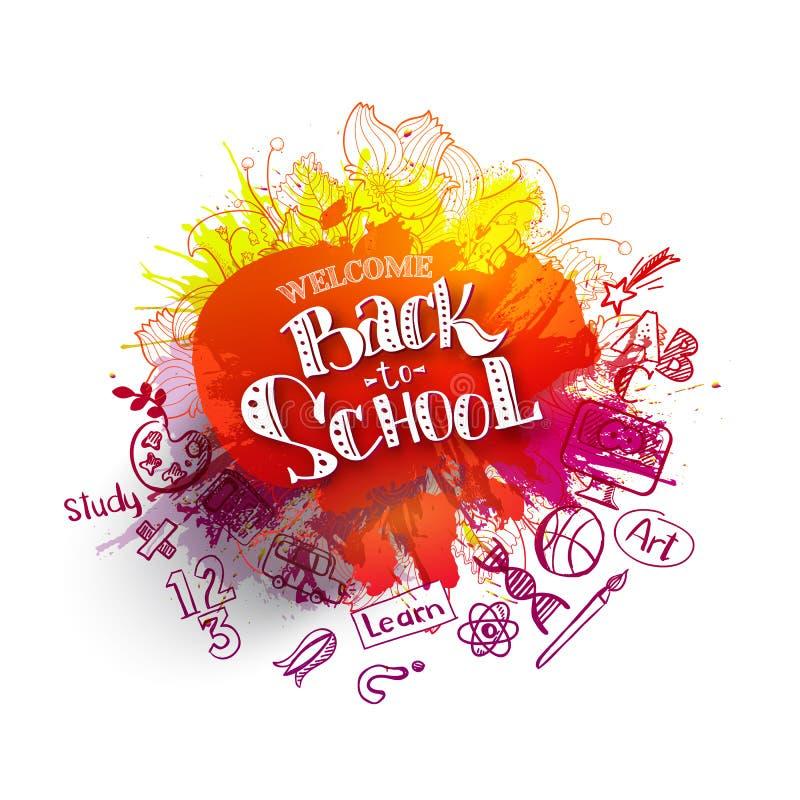Popiera szkoły sprzedaży pluśnięcie z doodles ilustracja wektor