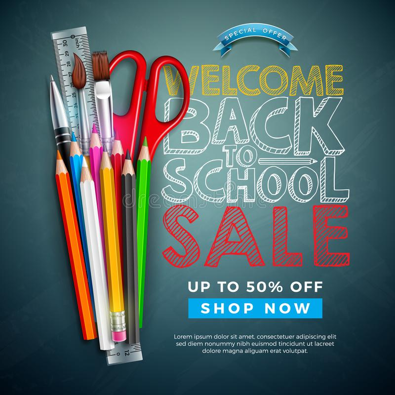 Popiera szkoły sprzedaży projekt z Kolorowym ołówkiem, muśnięciem i tekstem Pisać z kredą na Chalkboard tle, wektor royalty ilustracja