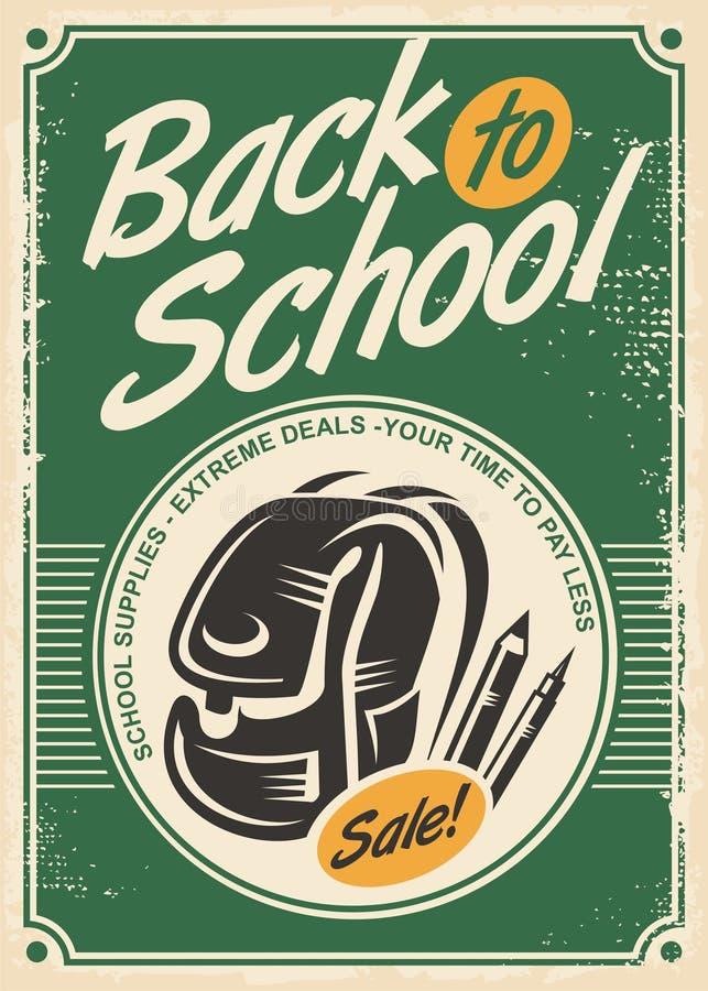 Popiera szkoły sprzedaży retro reklama z szkolną torbą i ołówkami royalty ilustracja