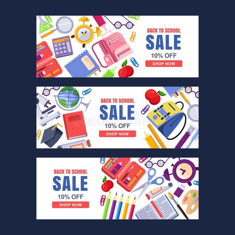 Popiera szkoły sprzedaży sztandaru wektorowy szablon Edukacj tła ustawiający z materiały dostawami royalty ilustracja