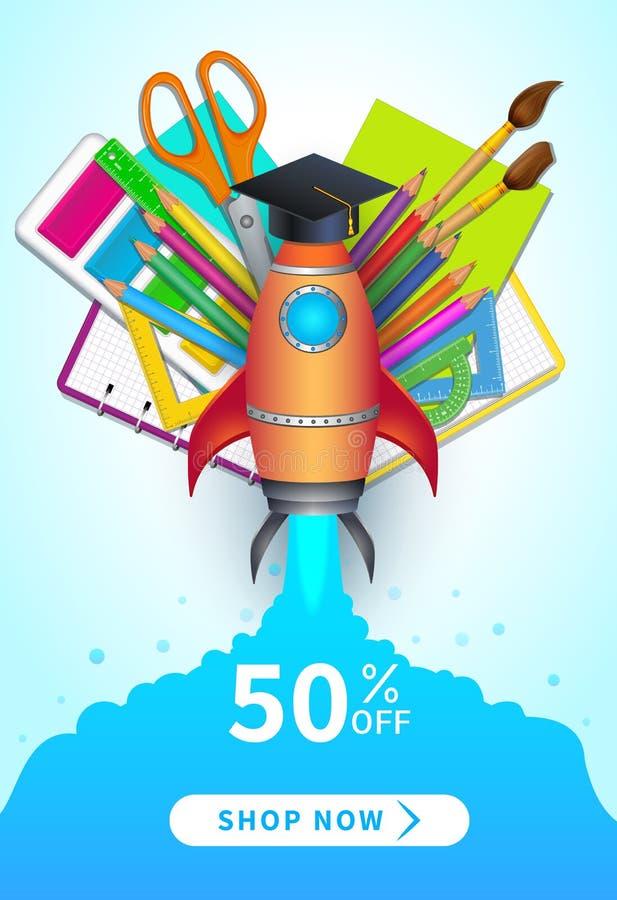 Popiera szkoły sprzedaży wektorowy sztandar z 50 procentów rabatem z oferty i robi zakupy teraz guzika, kolorowe 3d realistyczne  ilustracji