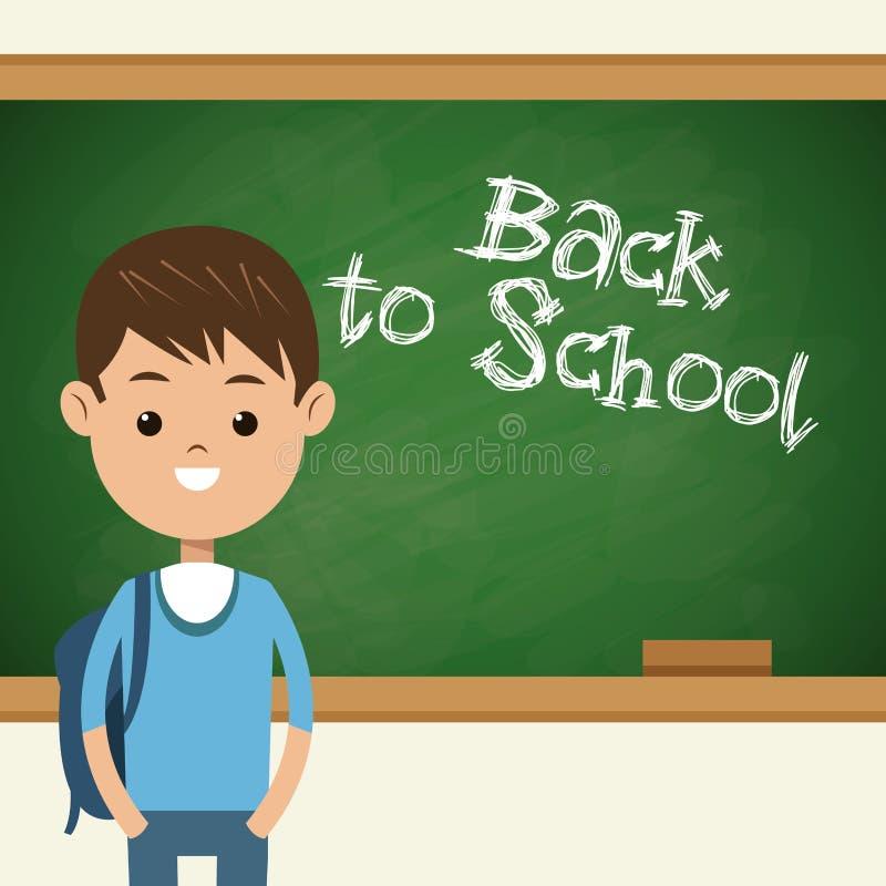 Popiera szkoły studencka chłopiec z zielonym chalkboard royalty ilustracja