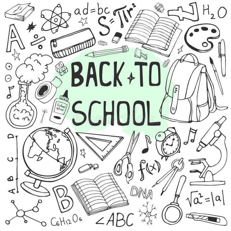 Popiera szkoły szkicowa ilustracja Doodle set szkolne dostawy i formuły ilustracja wektor