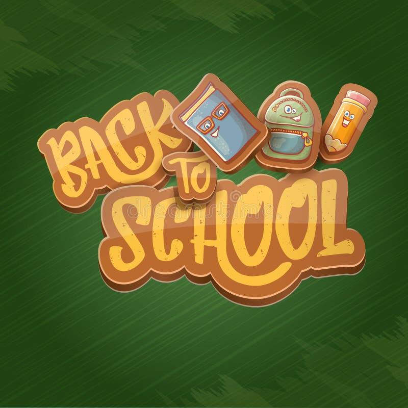 Popiera szkoły tła wektorowy szablon z śmiesznymi kreskówek dostawami jak ołówek, rezerwuje, zdojest, gumka i przestrzeń dla teks ilustracja wektor