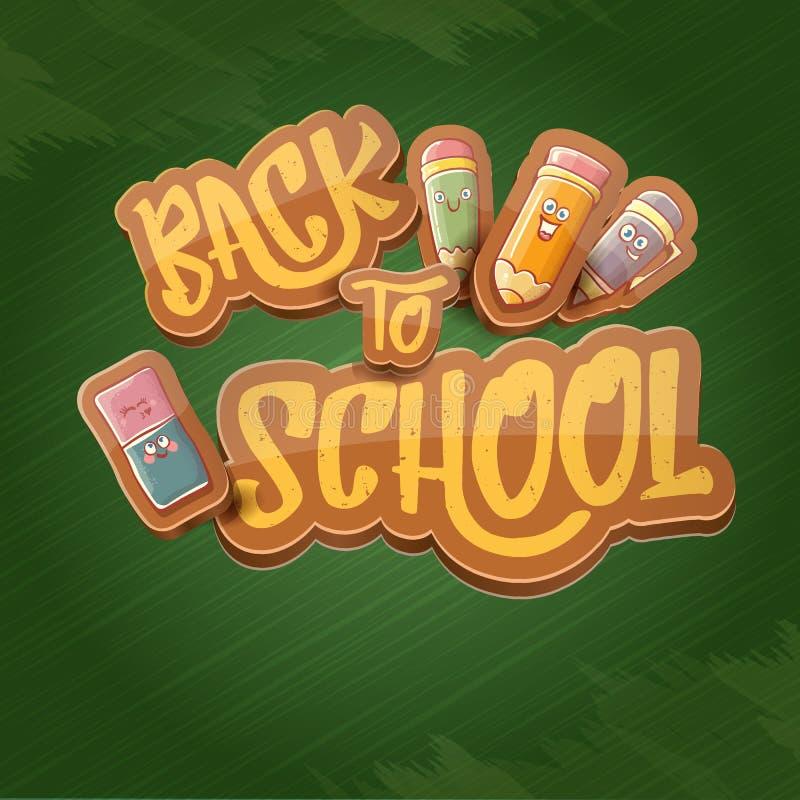 Popiera szkoły tła wektorowy szablon z śmiesznymi kreskówek dostawami jak ołówek, rezerwuje, zdojest, gumka i przestrzeń dla teks royalty ilustracja