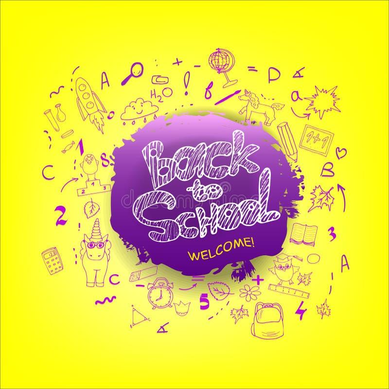 Popiera szkoły tło z ręki rysującymi kredowymi doodles Literowanie dla sztandarów, plakaty, ulotki Kreatywnie nakreślenie projekt royalty ilustracja