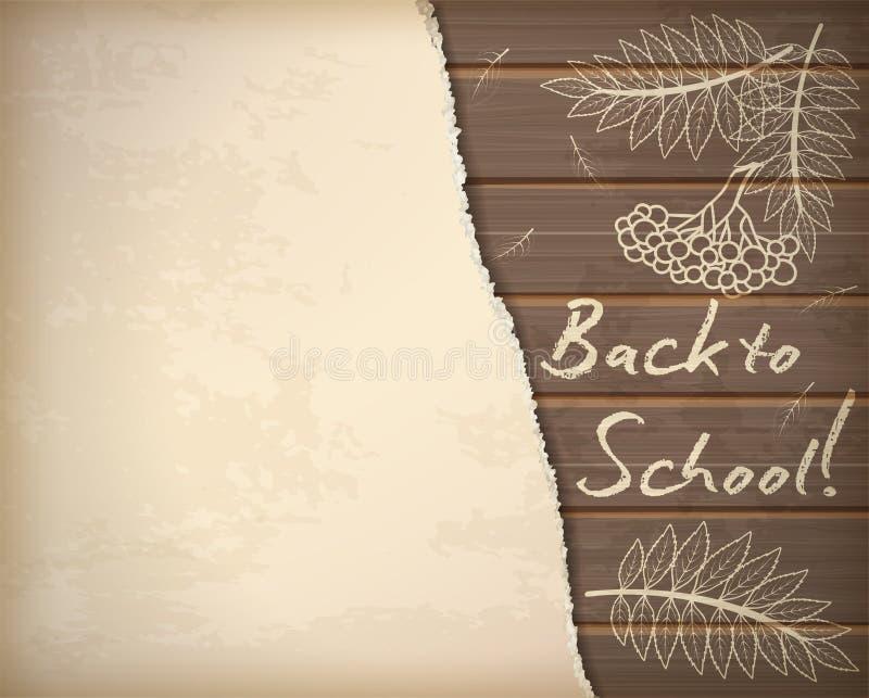 Popiera szkoły tapeta z rowan liścia kredy wzorem ilustracja wektor