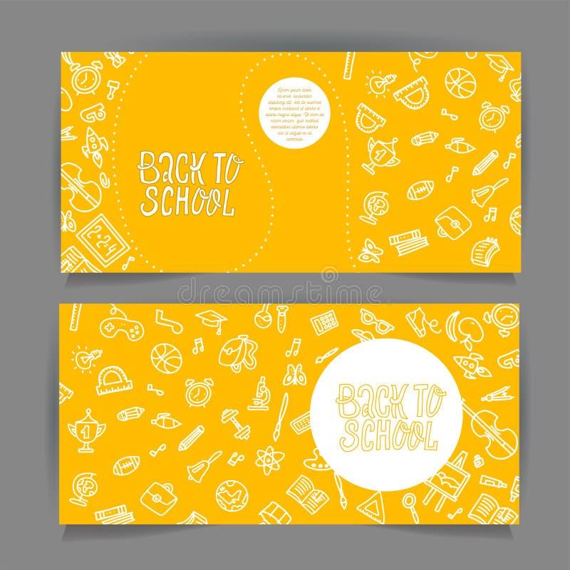 Popiera szkoły ulotki horyzontalny szablon z różnymi szkolnymi przedmiotami Szkolni sprzedaż sztandary ustawiający z białej linii royalty ilustracja