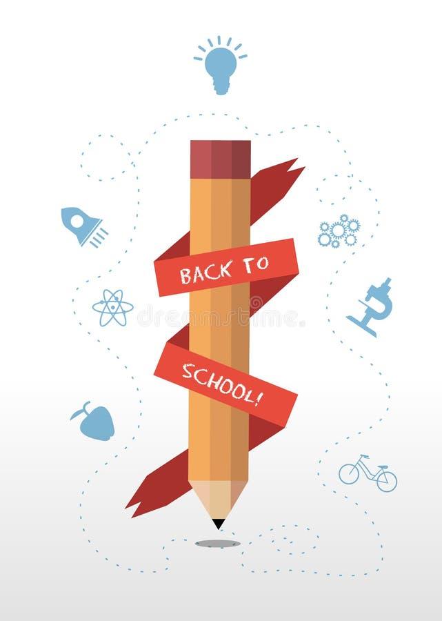 Popiera szkoły wiadomości sztandar wokoło ołówka ilustracja wektor