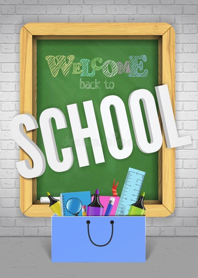 Popiera szkoły zieleni blackboard sztandaru kolorowy pojęcie dla sprzedaży promo Powitalny plakat z nauk dostawami ilustracja wektor