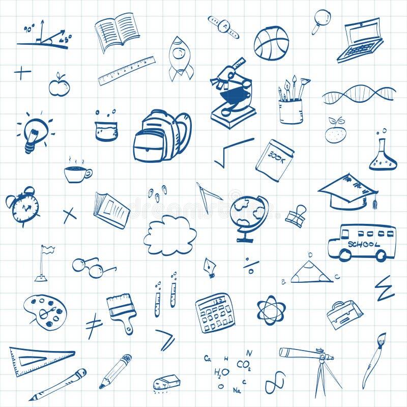 Popiera t?o z kreskowej sztuki ikonami i symbole szko?y, edukacji poj?cia, ilustracja wektor