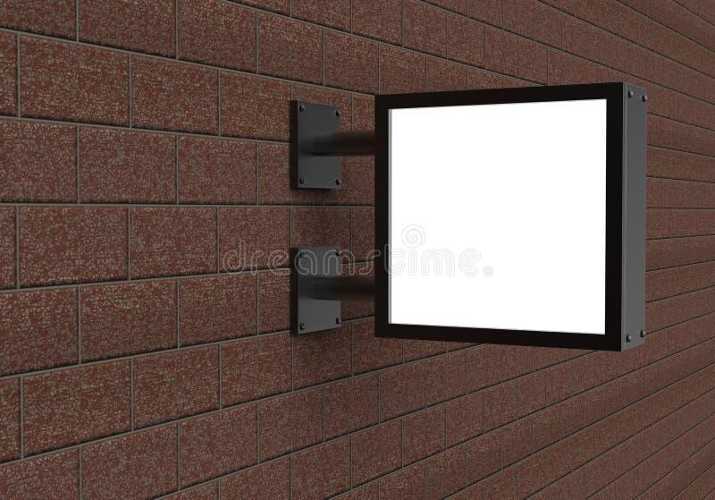 Popiera zaświecającą signage kwadrata deskę, dowodzona jarzeniowa reklamowa deska, winylowy firma znak na ściana z cegieł royalty ilustracja