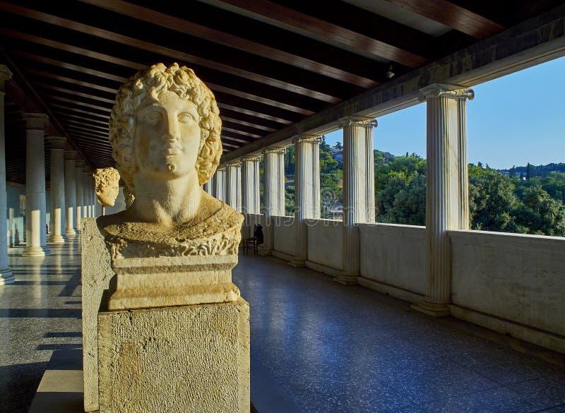 Popiersie Aleksander wielki w Stoa Attalos agora antyczny Athens Attica, Grecja obrazy royalty free