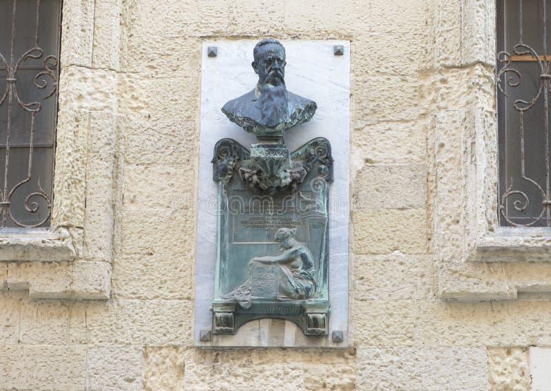 Popiersie Giovanni Bovio na outside ścianie w Lecka obrazy stock