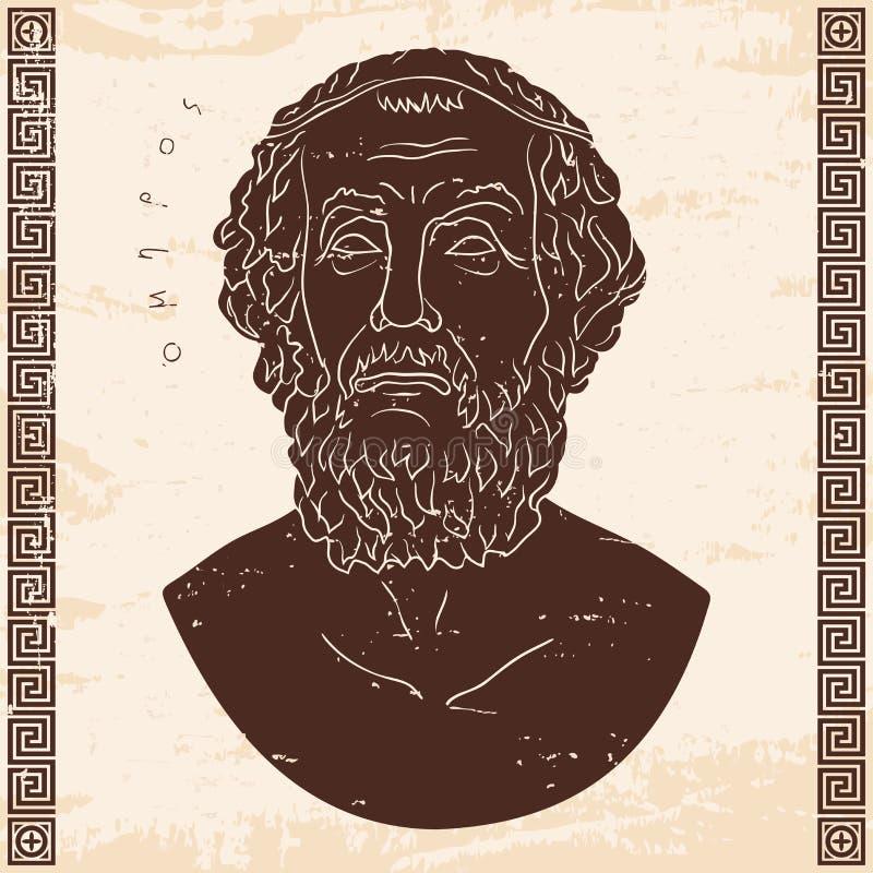 Popiersie Grecki poeta homer ilustracja wektor