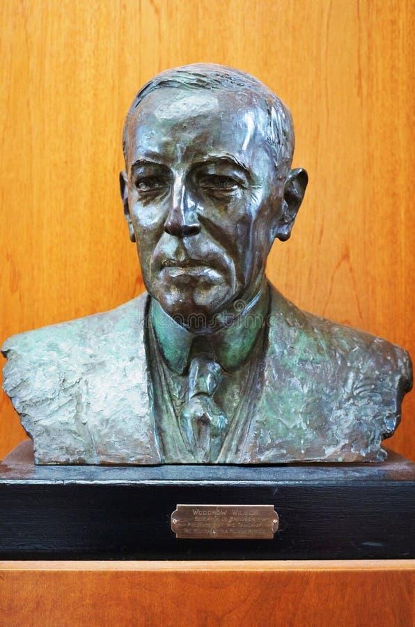 Popiersie rzeźba Amerykański prezydent Woodrow Wilson zdjęcia royalty free