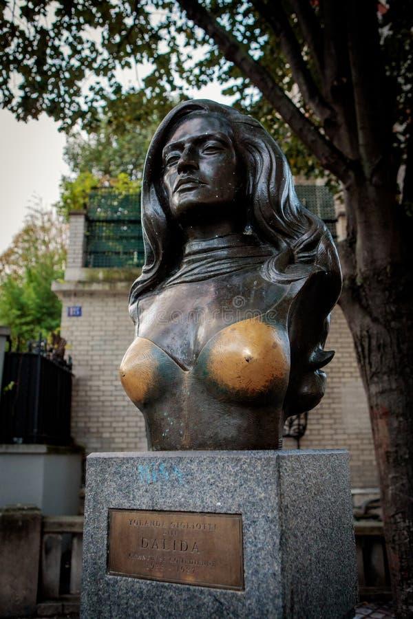Popiersie sławny Francuski piosenkarz Dalida zdjęcia stock