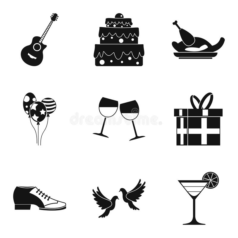 Popijaw ikony ustawiać, prosty styl royalty ilustracja