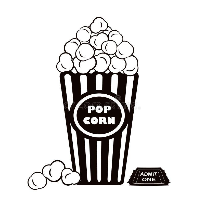 Popkorn i przyznaje jeden kinowego bilet ilustracja wektor
