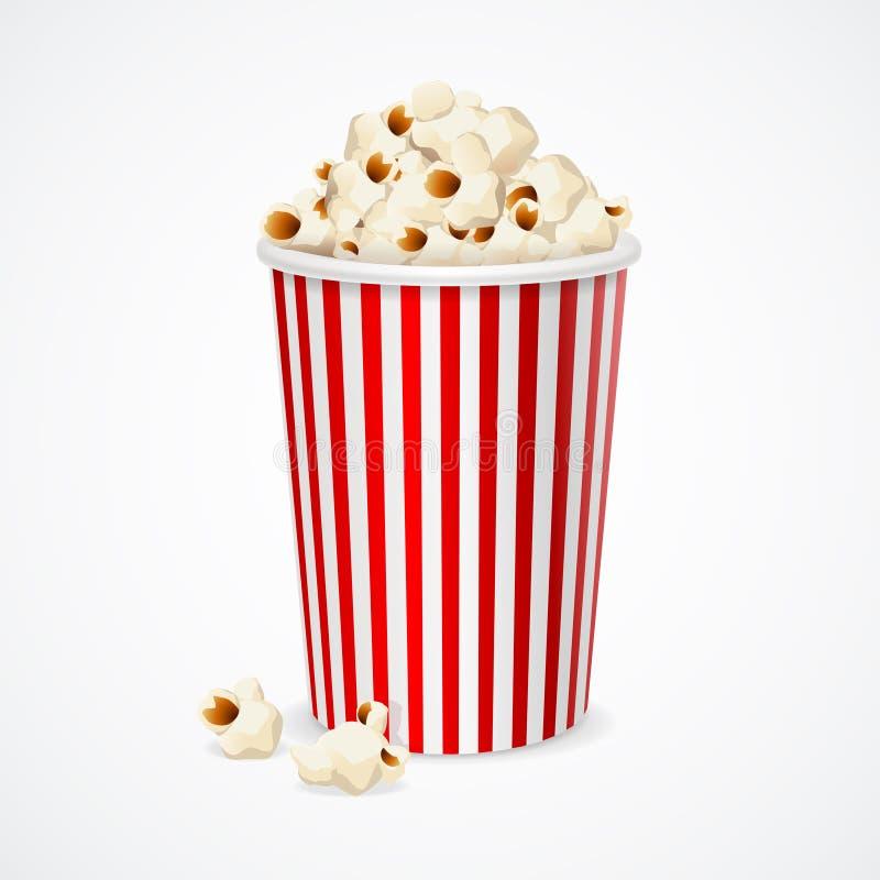 Popkorn w czerwonym i białym kartonie dla kina wektor obraz stock