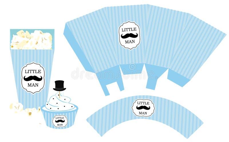 Popkornu papierowy pudełko Babeczki opakowanie Printable szablon dla małego mężczyzna ` s prysznic chłopiec birthdaybaby przyjęci ilustracja wektor