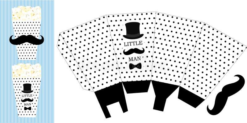 Popkornu papierowy pudełko Printable szablon dla małego mężczyzna ` s prysznic chłopiec birthdaybaby przyjęcia ilustracji