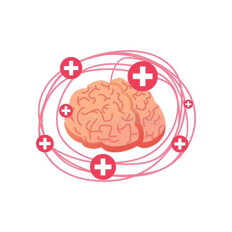 Poplątany mózg Migrena Terapeuta, miłość i związki, również zwrócić corel ilustracji wektora royalty ilustracja