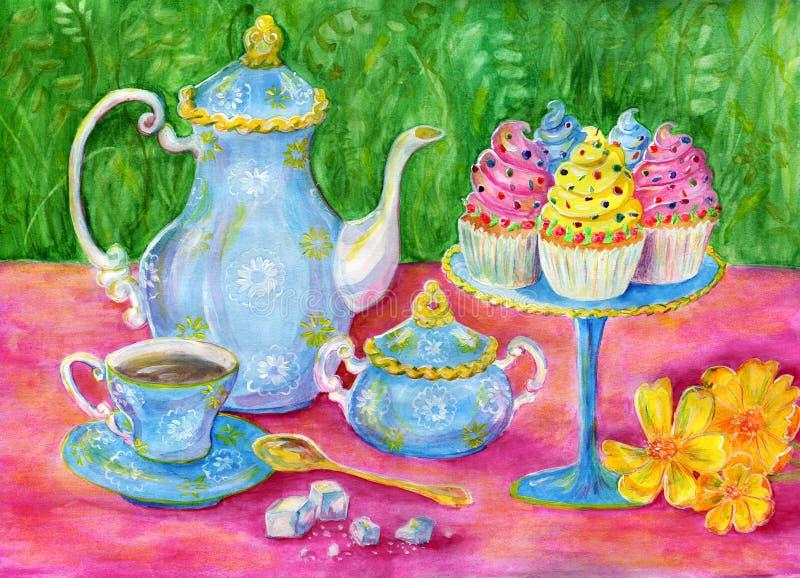 Popołudniowa herbata ilustracji