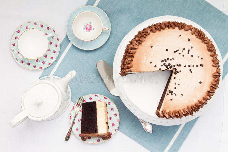 Popołudniowa herbata i tort fotografia stock