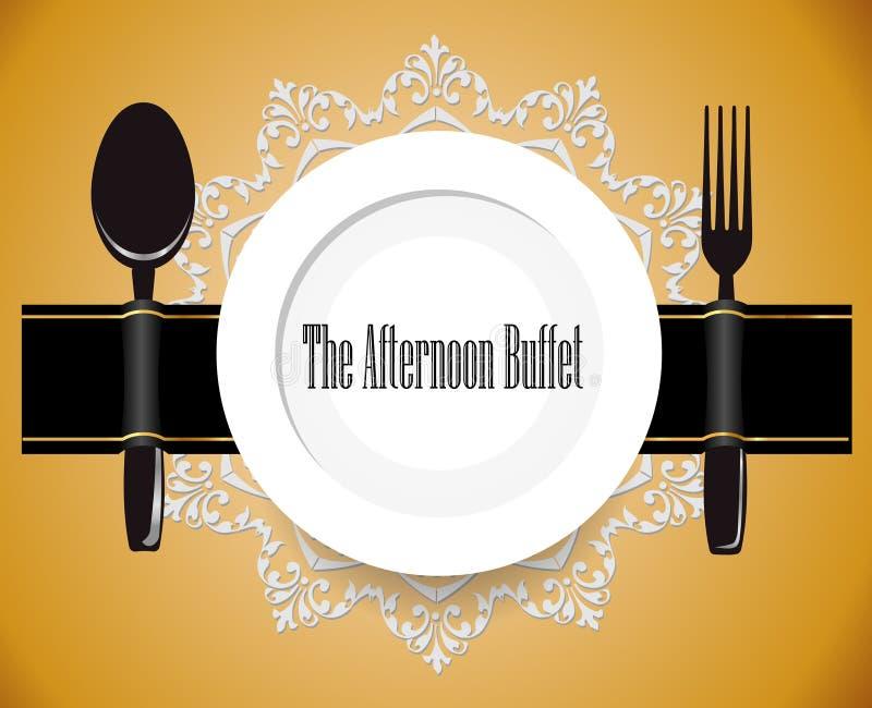 Popołudniowy bufet, lunch, wszystko ty możesz jeść bufeta znaka ilustracja wektor