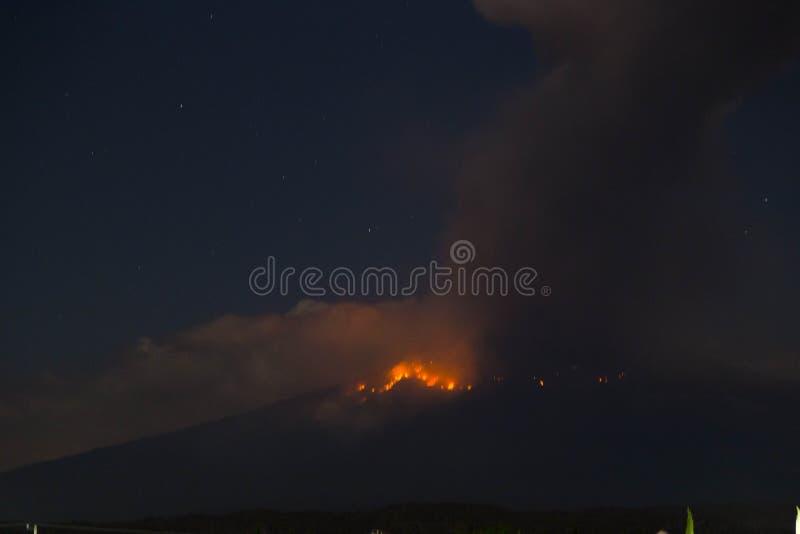 popocatepetl火山爆炸,夜 图库摄影