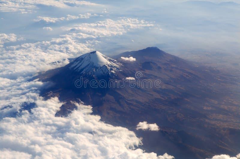 Popocatepetl volcano Mexico DF city aerial view royalty free stock photo