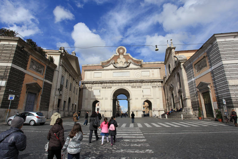 Popolo Gate In Rome Editorial Image
