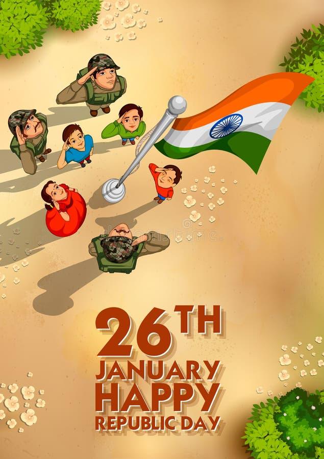 Popolo indiano che saluta bandiera dell'India con orgoglio il giorno felice della Repubblica royalty illustrazione gratis