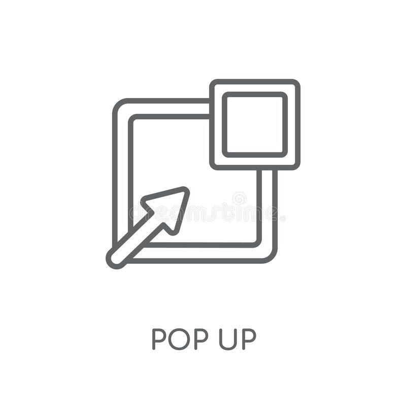 Poppa upp den linjära symbolen Den moderna översikten poppar upp logobegrepp på vit vektor illustrationer
