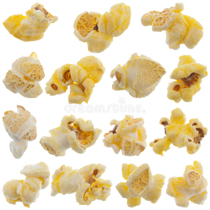 Popped kernels of pop corn snack. Isolated on white background stock image