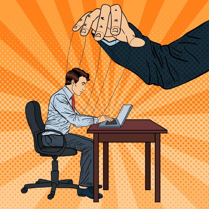 Poppenkastspeler Controlerende Bedrijfsmens aan het Bureauwerk Pop-art royalty-vrije illustratie