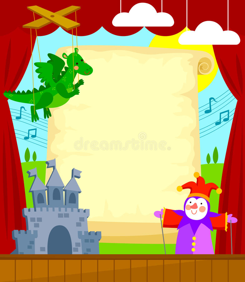 Poppentheater vector illustratie