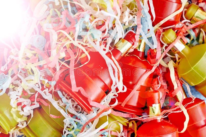 Poppers del partido en blanco fotos de archivo libres de regalías