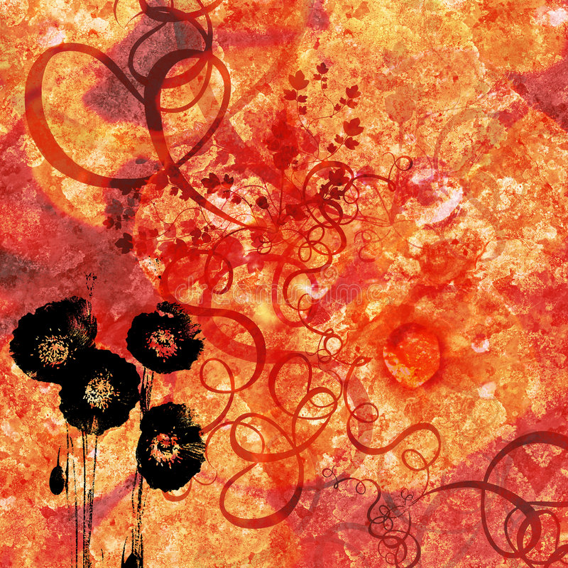 Poppies, background vector illustration
