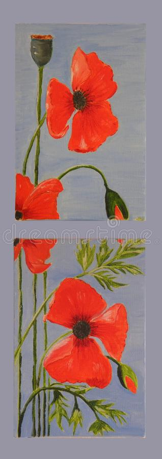 Poppies on blue oil painting stock photo