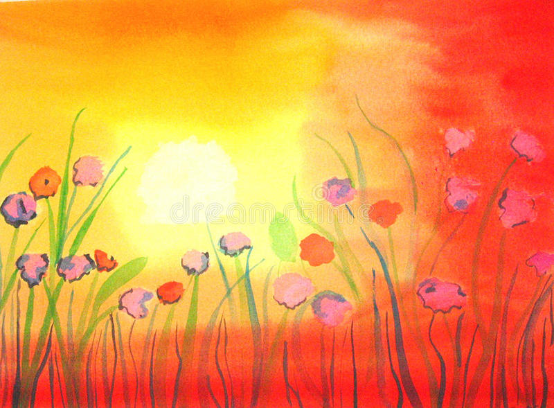 Poppies. Handpainted Watercolor, handgemaltes Aquarell, Impressionen royalty free illustration