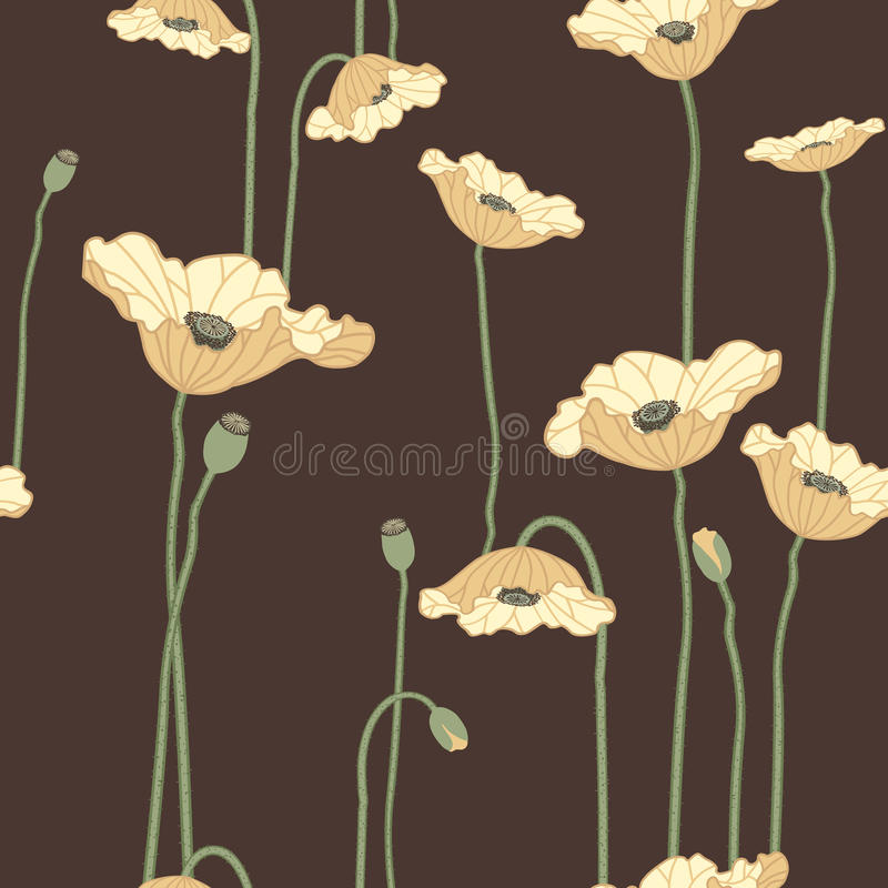 Poppies seamless background royalty free illustration