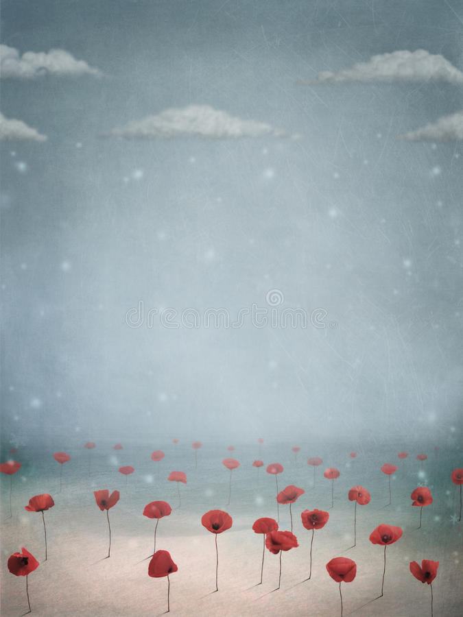Download Poppies in the snow stock illustration. Image of snowflake - 12131214