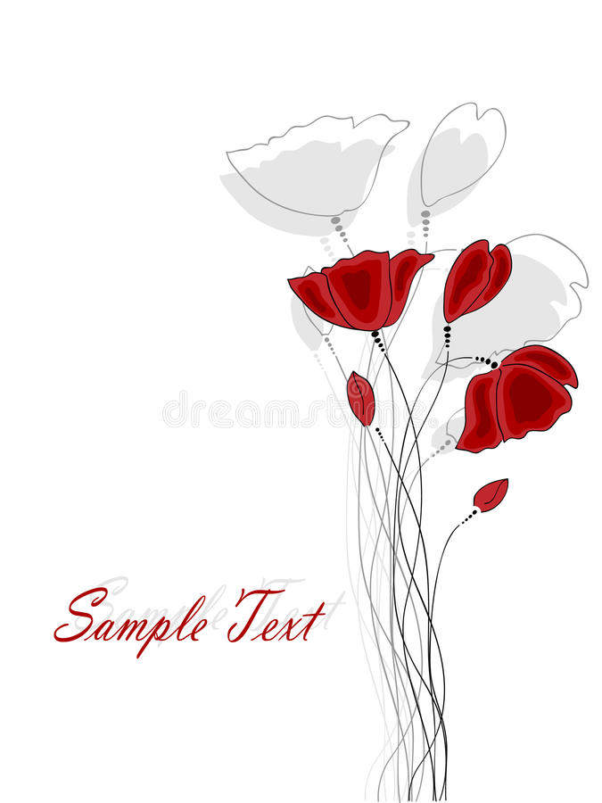 Poppy. Vector pictures with red poppy flowers royalty free illustration